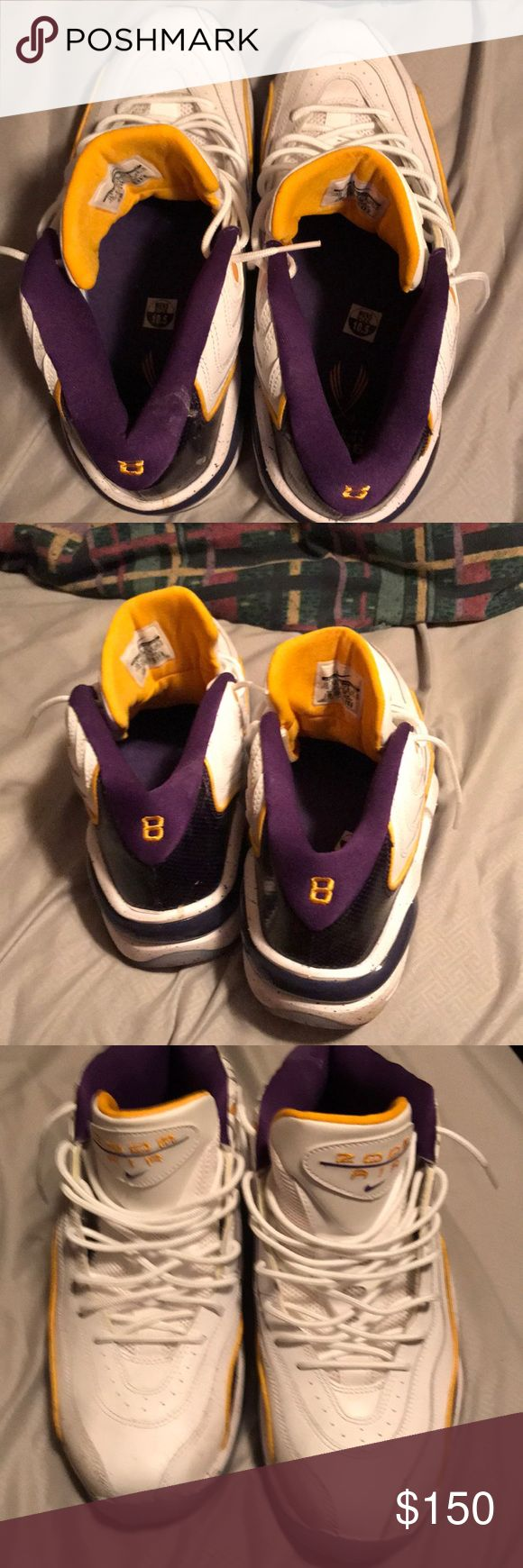 Kobe Bryants limited-edition Flight school 1996 Kobe Bryant's limited edition flight school 1996 when he just started playing 🏀 wearing the Jersey #8 very rare in amazing condition brand new never worn… Very doubtful if you'll be able to find these anywhere… Not just saying that just being truthful… I was a big Kobe Bryant fan and I still am he was the mad machine on the court got his fair share of rings five rings one short of MJ ... go Lakers this would make a great pair for you Laker…