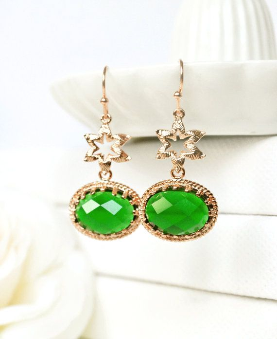 Emerald green Dangle earrings Green by ArtemisBridalJewelry