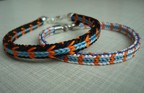 Two braided bracelet-Kumihimo Bracelet-Light and dark.   These two bracelets are made in the traditional Japanese technique of Kumihimo weaving