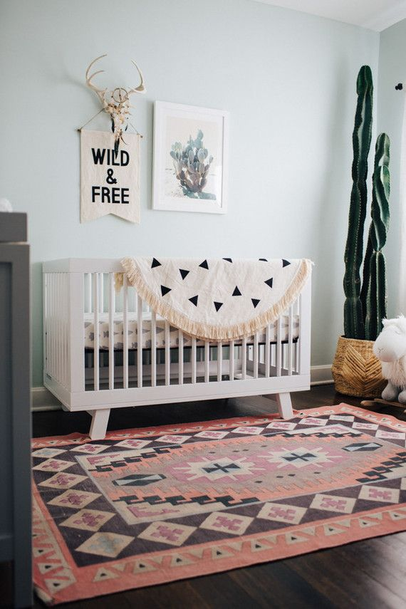 A south western inspired nursery with cactus art by wilder california for minted love the wall color