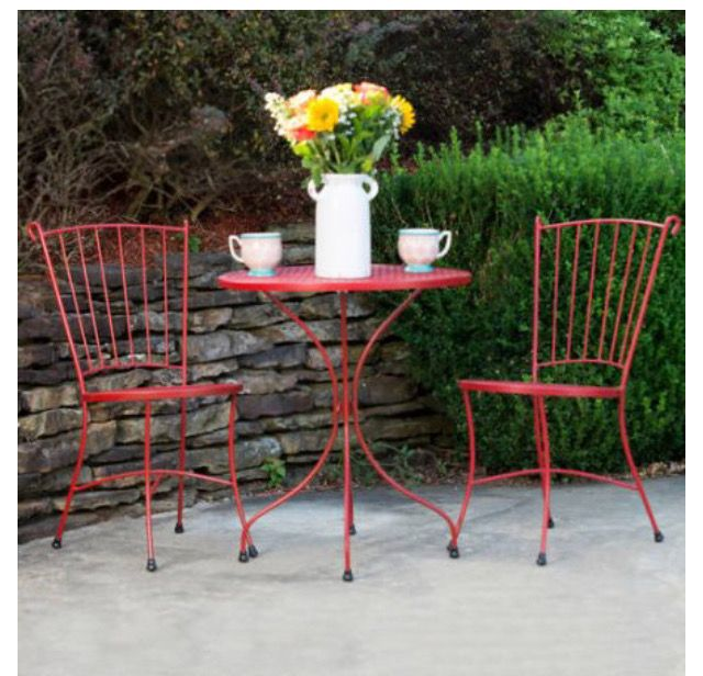 Lil Red Bistro Set Meadow Craft Wrought Iron Wadley Al