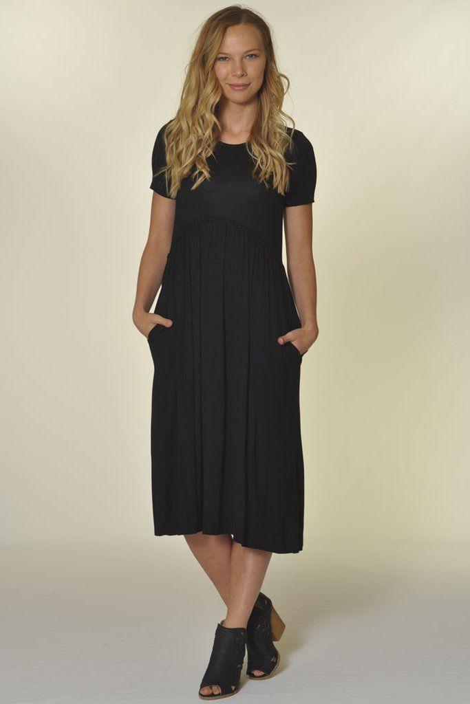 Evelyn Empire Waist Dress- Black