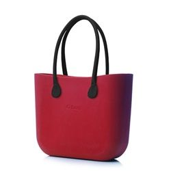O bag in Ruby Red with Black Faux Leather Handle