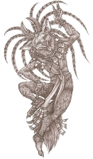 Huehuecoyotl- Aztec myth: the god of dance, song, and mischief. He was depicted as having the head of a coyote with the hands and feet of a man. He also sported a drum. The coyote was a symbol of astuteness, worldly-wisdom, pragmatism, male beauty and youthfulness which were all represented by him.