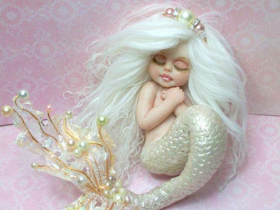 Ooak Art Doll Fantasy Mermaid Baby Polymer Clay Sculpture