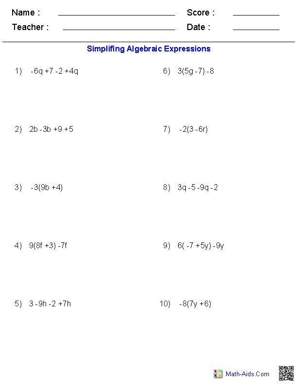 Free PreAlgebra Worksheets Algebra worksheets