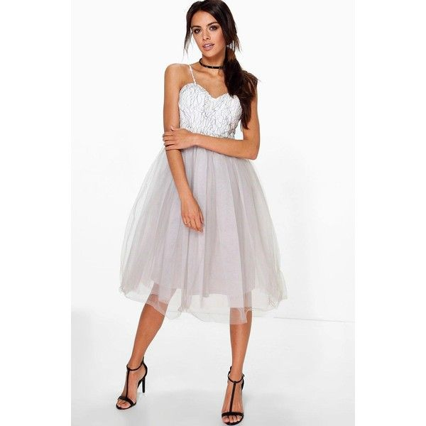 Boohoo Boutique Boutique Ana Corded Lace Tulle Prom Dress ($52) ❤ liked on Polyvore featuring dresses, grey, grey prom dresses, gray tuxedo, grey lace dress, prom tuxedos and sequin cocktail dresses