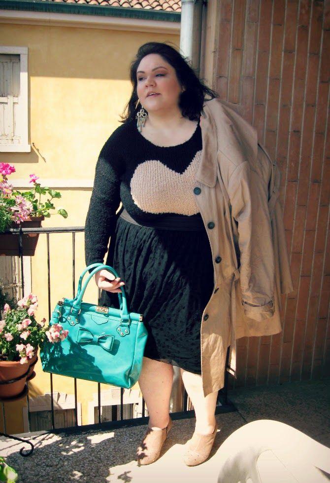 #outfit con maglione #plussize #axparis curve con cuore #psblogger more pictures http://www.divadellecurve.com/2014/04/outfit-plus-size-un-cuore-grande-cosi.html