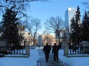 A sunny winter morning in Regina's Victoria Park.