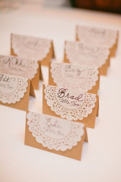 Style Me Pretty | Gallery #8405 | Photo #615403. >Very simple and pretty use for doilies as place cards. Keeps with the lace theme to match the dress!