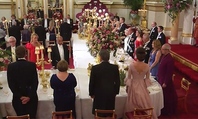 Duchess Kate wore a Marchesa gown to the state banquet.