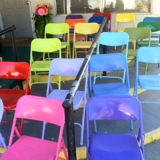 The director of our Children's Church spray painted those old nasty metal chairs turning them to hip up-to-date beauties!!