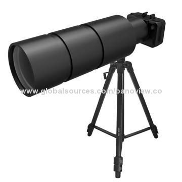 500-3000 Meter Telescope, Real-time Control and Operation with Smartphones.   Features: HD with 1.3MP Telephoto lens Real-time control and operating with smartphones Specifications: Focal length = 300mm, F = 3.5 Photograph resolution: 5, 8, 12M JPEG Recording: 720P (1,280 x 720P) 60fps, 1,080P (1,920 x 1,080P) 30fps Recording file format: MOV (H.264 compression) file Photograph format: JPEG Storage: micro SD/MMC (maximum 32GB SDHC) Wi-Fi distance: 30m View distances: 500-3,000m USB