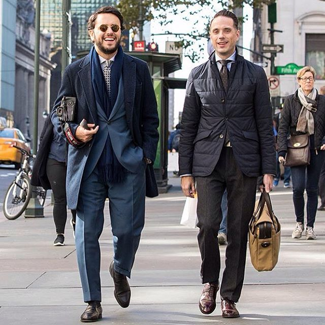 In this shot in #Nyc the #menswear blogger @hespokestyle and our co-founder @fabioattanasio wearing our new model #Vicuña, #handmade using precious materials such as 24 #gold carat plated rodium....