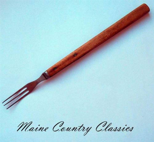 Antique Primitive Long Wooden Handle 3 Tine Prong Cooking
