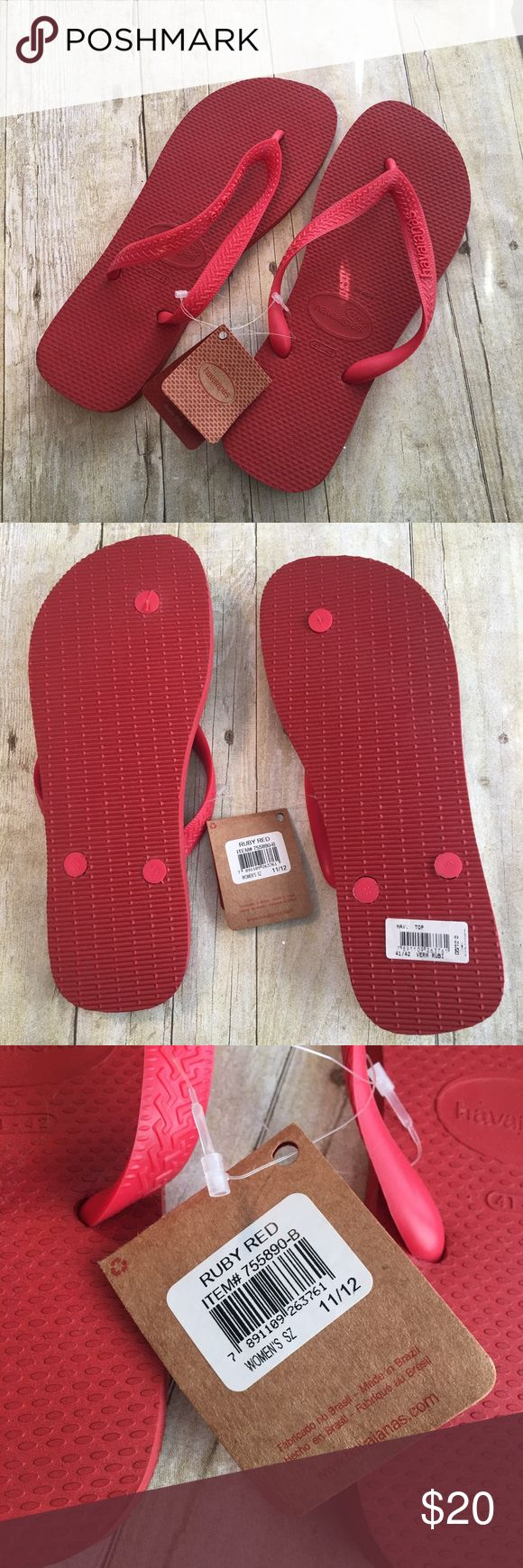 Havaianas Top Flip Flops Bring on the heat! You'll be ready to take on the blazing weather in these ruby red sandals. Rubber upper and sole provides a cushioned footbed. Never worn, still with tags. Thank you for visiting my closet! Havaianas Shoes Sandals
