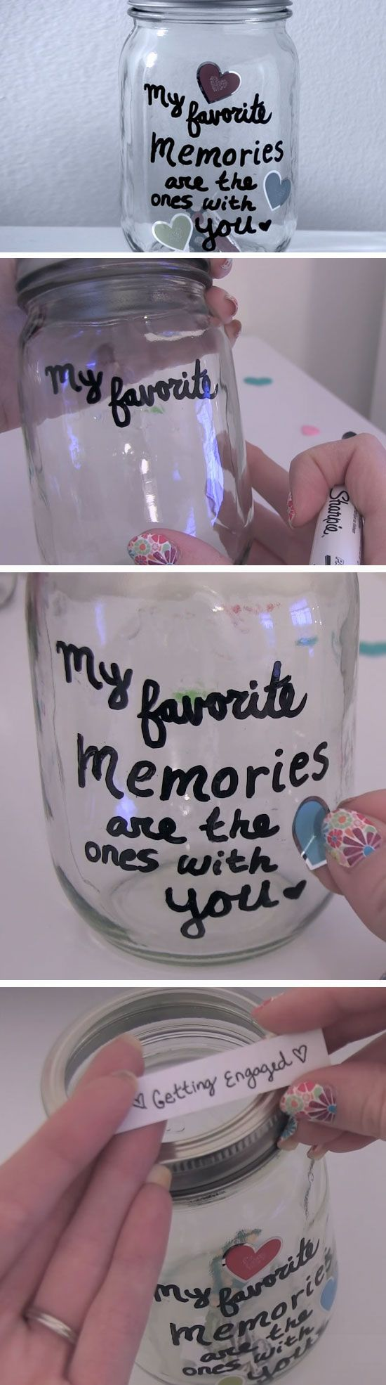 Favorite Memories | DIY Valentines Mason Jar Crafts for Him | Easy Gifts in a Jar Ideas for Boyfriend - Tap The Link Now Find that Perfect Gift