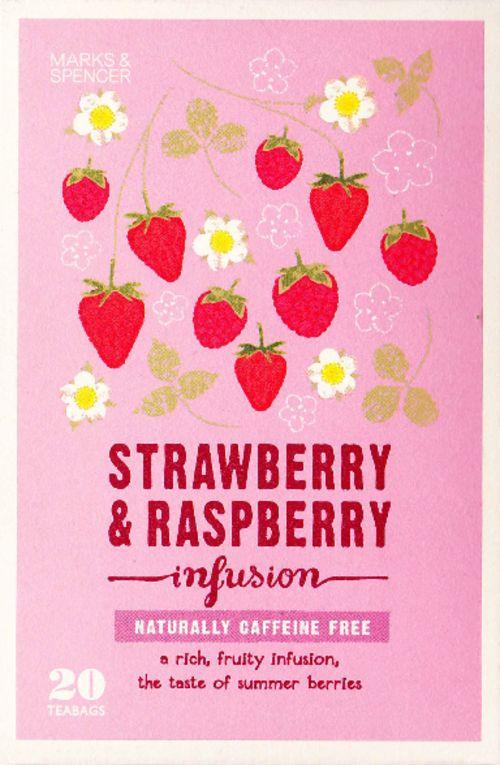 MARKS & SPENCER ストロベリー&ラズベリー 英国のハイクオリティー スーパーマーケット M&Sでおなじみのマークスの紅茶シリーズ パッケージも可愛いストロベリー&ラズベリー ノンカフェインでフルーティー♡ ナチュラルハーブとサマーベリーのミックス!