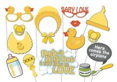 Rubber Ducky Baby Shower Photobooth Party Props Set - 16 Piece PRINTABLE - Rubber Duck, Baby shower, Gender neutral, Game, Photo Booth Props