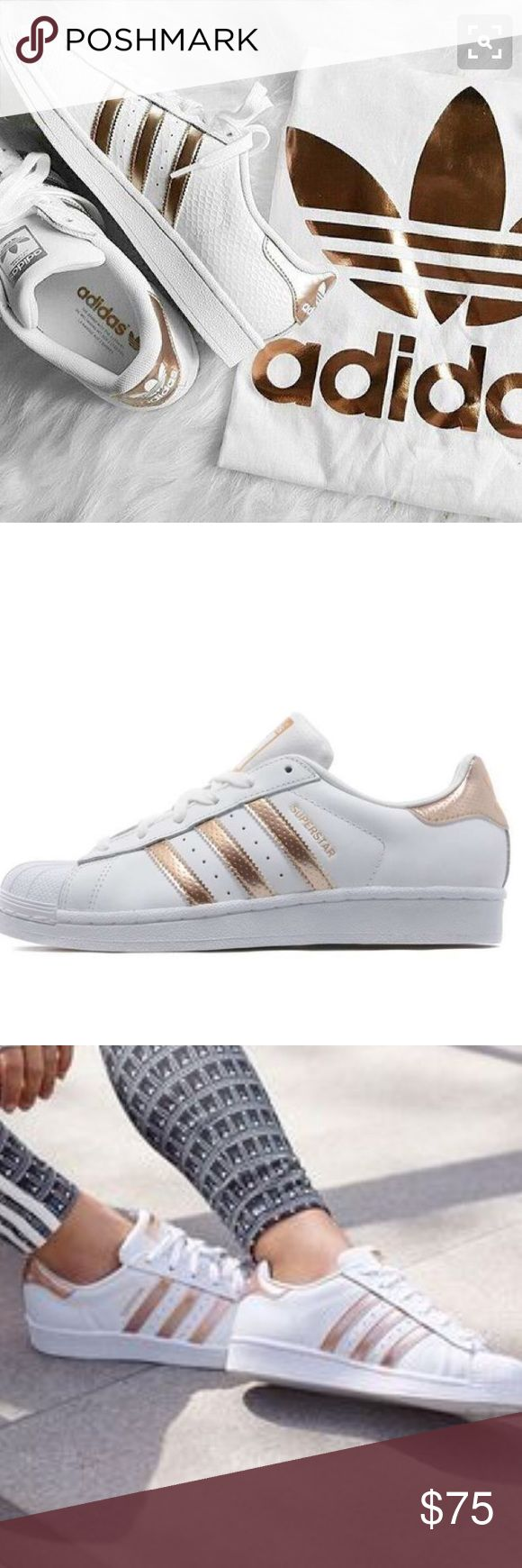 Addidas Rose Gold Superstar Shine bright like a superstar in these gorgeous rose gold sneakers. ✨Brand new, never worn. ✨Perfect for a casual chic look. ✨Listing is for sneakers only. ✨Shoes reflect 2nd and 3rd pic. ✨ Feel free to make an offer! Adidas Shoes Sneakers