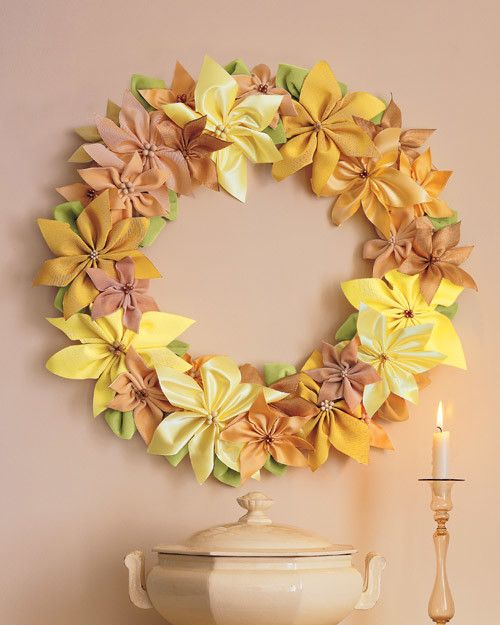 Satin ribbon provides a wide range of shades with which to form these beautiful facsimiles. Their hardiness makes them a delightful choice for a fine (and everlasting) indoor wreath.