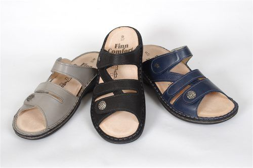 VENTURE by Finn Comfort: Triple velcro slide with soft footbed insoles, orthtoic friendly.