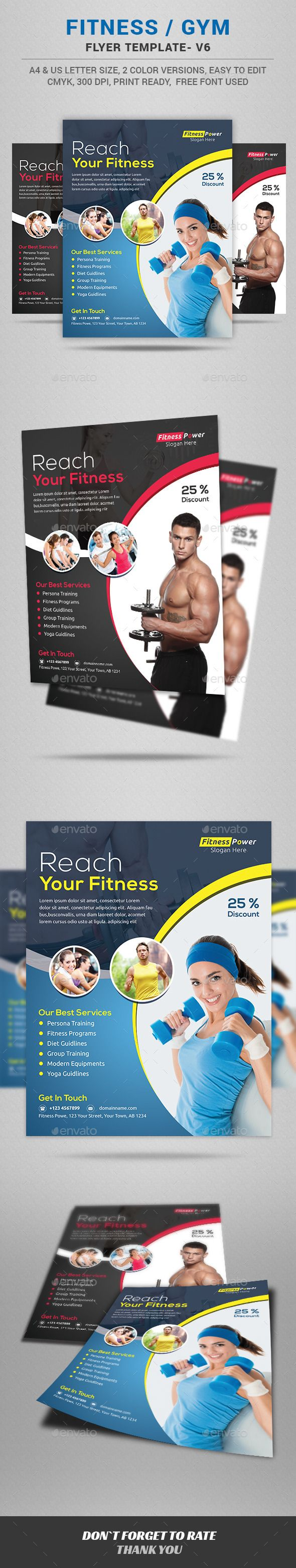 Fitness / Gym Flyer Template #design Download: http://graphicriver.net/item/fitness-gym-flyer-template/12661858?ref=ksioks