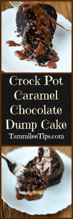 Crock Pot Chocolate Caramel Dump Cake Recipe! This slow cooker cake recipes is the perfect combination of chocolate and caramel! You can't go wrong with this desserts recipe! Perfect for holidays, dinner parties, kids, friends and anyone who loves chocolate and caramel!