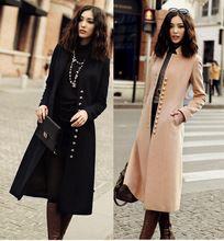 Yeni Stil zarif standı yaka ince uzun palto kadın siyah deve moda sonbahar kış tek göğüslü ceket kadın(China (Mainland))