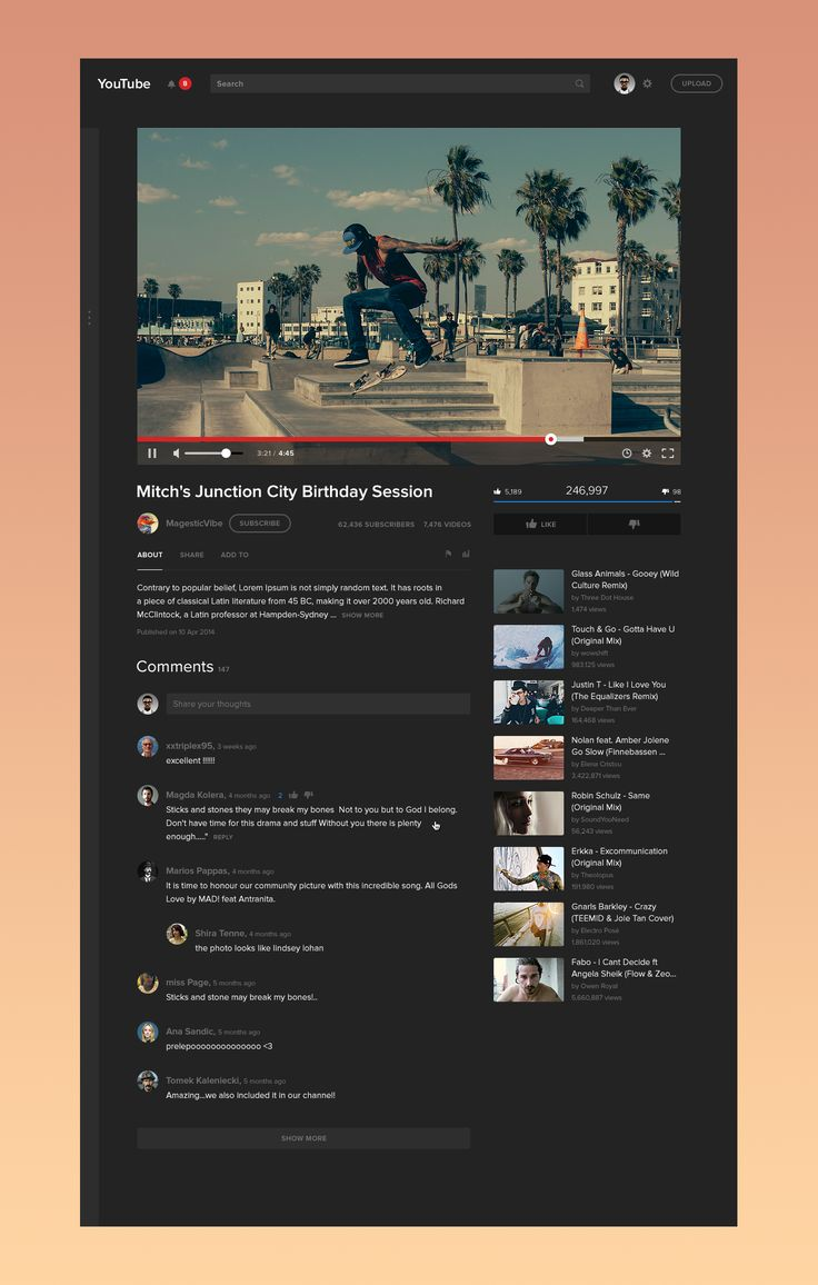 web design | Youtube Video Page (WIP) Redesign (Concept) by Dmitry Samarenkov
