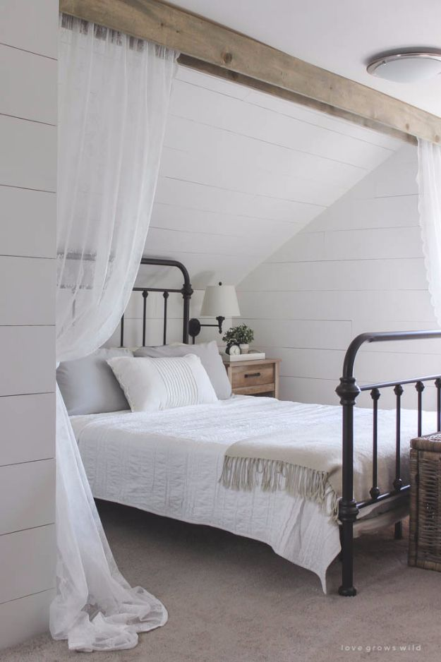 DIY Farmhouse Style Decor Ideas - Wood Beam And Lace Curtains - Rustic Ideas for Furniture, Paint Colors, Farm House Decoration for Living Room, Kitchen and Bedroom http://diyjoy.com/diy-farmhouse-decor-ideas