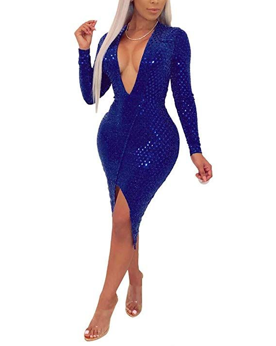 fd182899be22 Womens Sexy Sequin V Neck Long Sleeve Bodycon Party Split Mini Dress at  Amazon Women's Clothing. Visit. January 2019