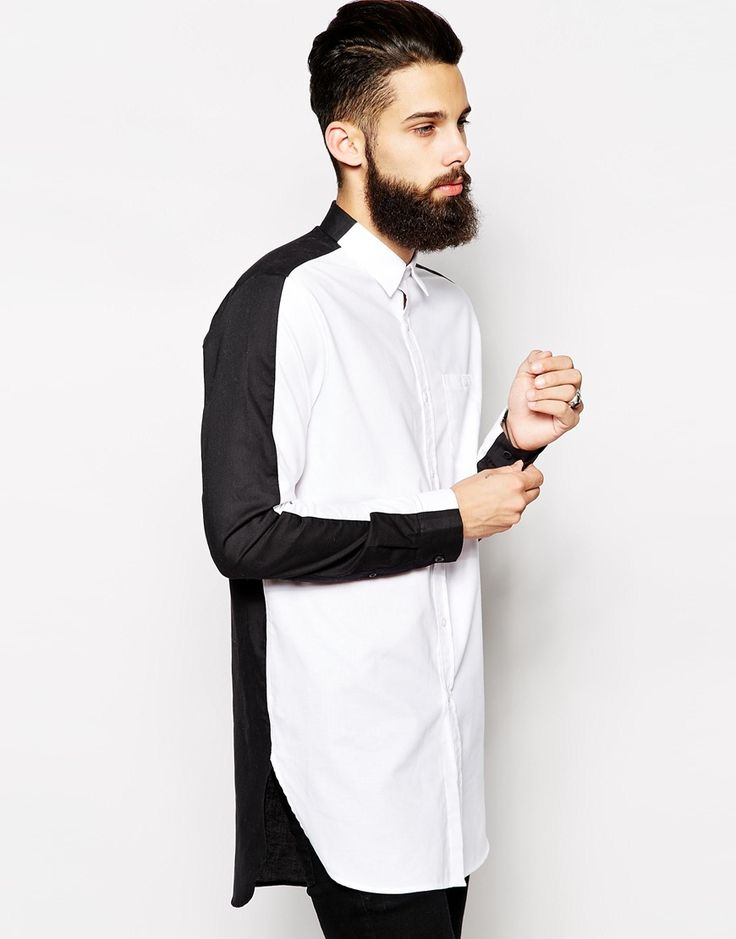 Oxford Shirt In Longline With Black And White Split Panel