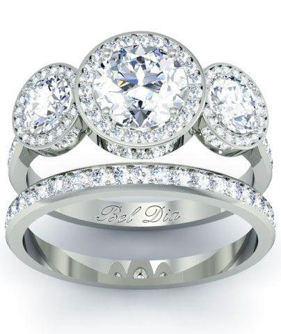 Three Stone Halo Wedding Ring Set