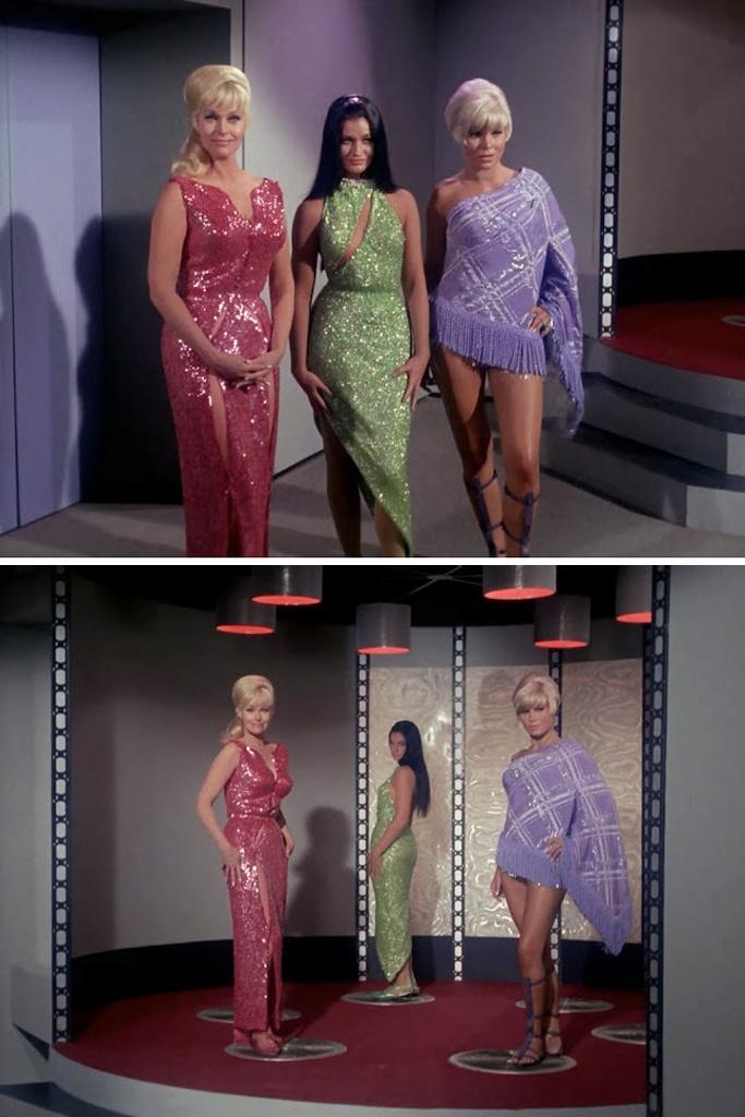 """Star Trek, Season 1 Episode 6: """"Mudd's Women"""" (from left): Karen Steele, Maggie Thrett & Susan Denberg, originally aired on Thursday, October 13, 1966 on NBC."""
