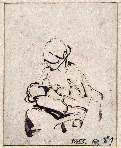 Woman suckling a child by Rembrandt. Baroque. sketch and study