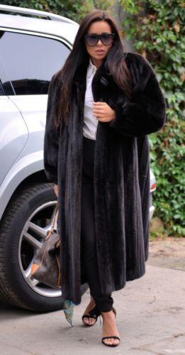 BLACKGLAMA vison fourrure Long manteau classe de Sable Chinchilla Fox Veste noir libertin