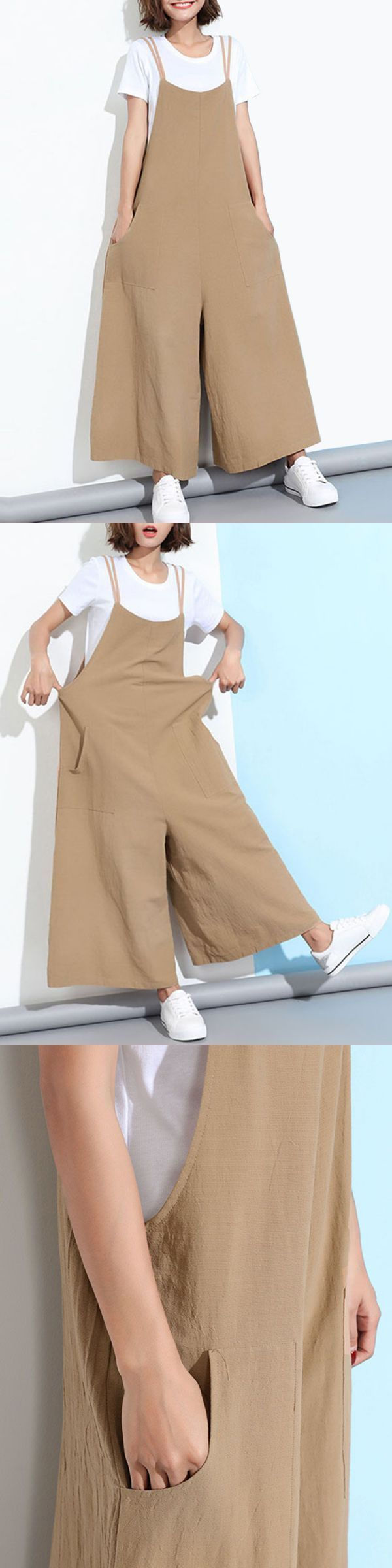 Loose casual women pure color wide-leg overalls with pocket jumpsuits and playsuits online india #jumpsuits #amp; #playsuits #jumpsuits #playsuits #womens #clothing #playsuits #and #jumpsuits