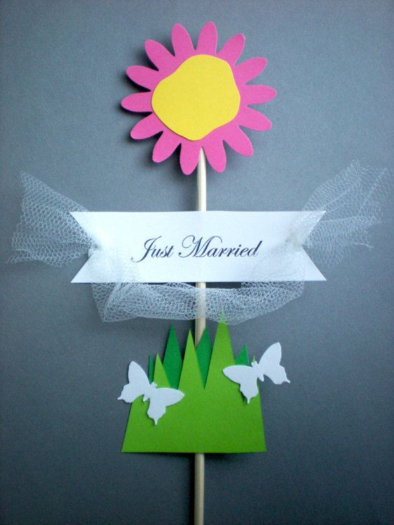 Flower&Butterflies Cake Topper with Flag for by decoraland on Etsy, €7.99