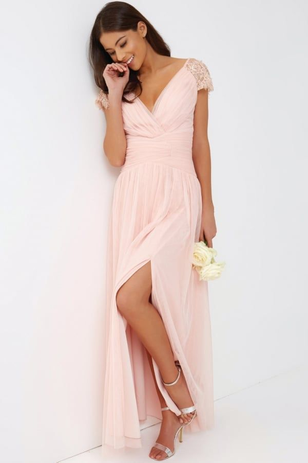7c1393bd46930 Little Mistress Pink Tulle Maxi Dress | Maxi Dresses | Bridesmaid ...