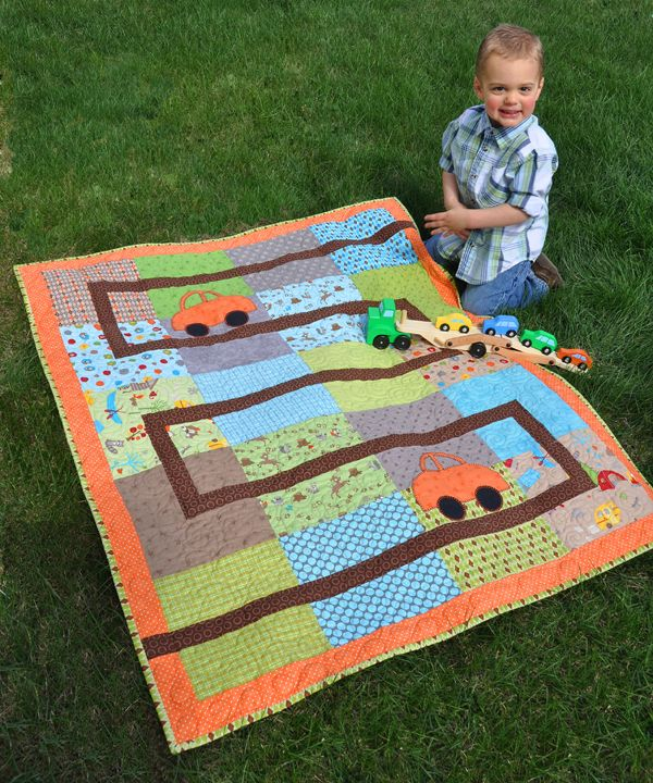 Little boy quilt with fabric road cars summer break for Little boy fabric