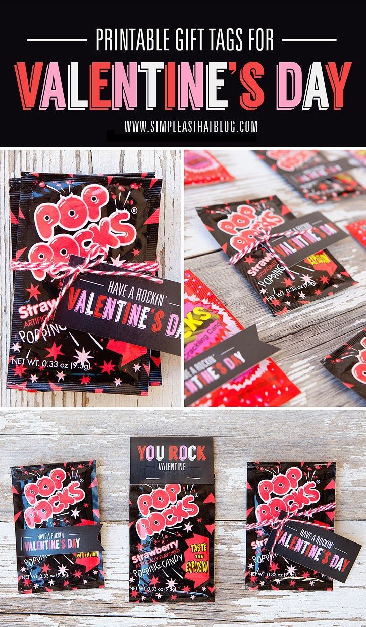 FREE Valentine's Day Gift Tags. Attach to a package of of Pop Rocks for cute, fun and budget-friendly classroom treats or party favours this Valentine's Day!