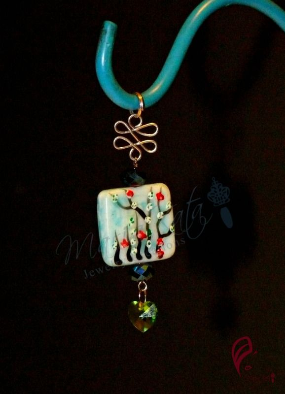 Hand painted ceramic tile pendant with rondelles and crystal heart $12.00