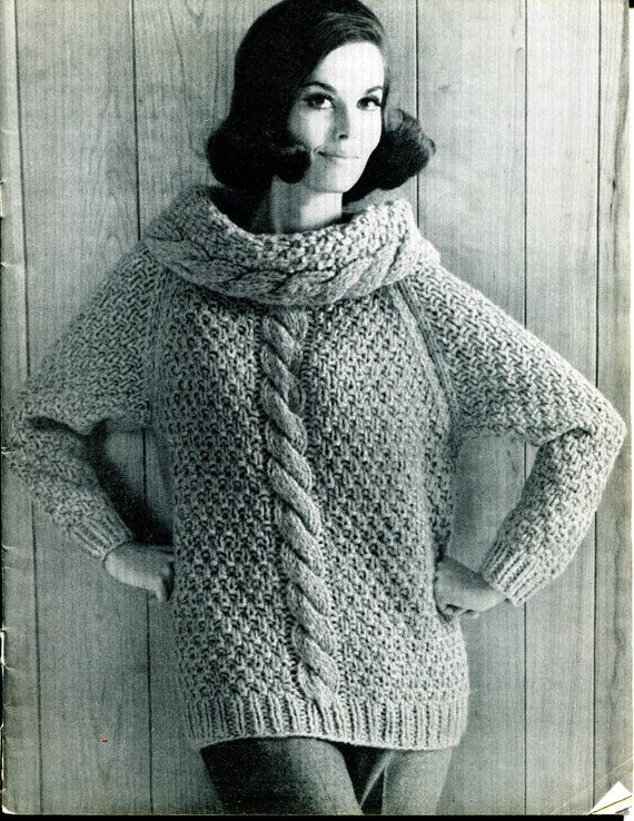 1960s Vintage Women's Cowl Chunky Cable Knit by PaperPastry