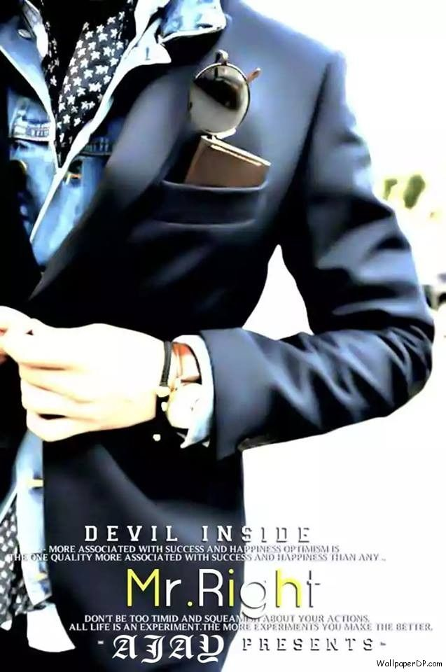Image for Mr Right Devil Inside Awesome Dressing Dp for Boy's Fb