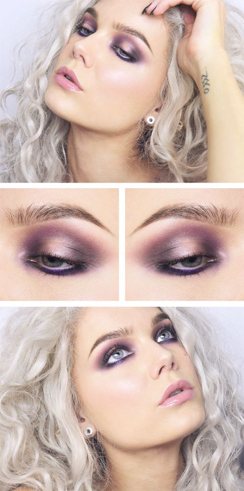 "Linda Hallberg; Todays Look July 3 2015 ""Purple"" - Ash blonde / Silver Hair + Purple / Plum eye makeup + Blush pink lips"