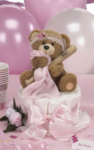 Baseball Baby Shower for Girl - Blankie Bear Baseball Diaper Cake Topper Centerpiece & Table Decorations $46.00