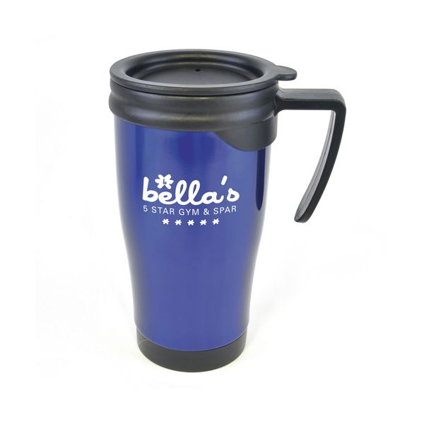 Dali 450Ml Stainless Steel Promotional Travel Mug  450ml double walled stainless steel travel mug with plastic interior, black push on lid, black handle and black trim on base of mug. Fantastic branding area. Conforms to articles in contact with food testing