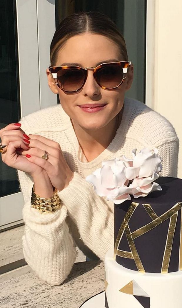 Who made Olivia Palermo's brown cat sunglasses?