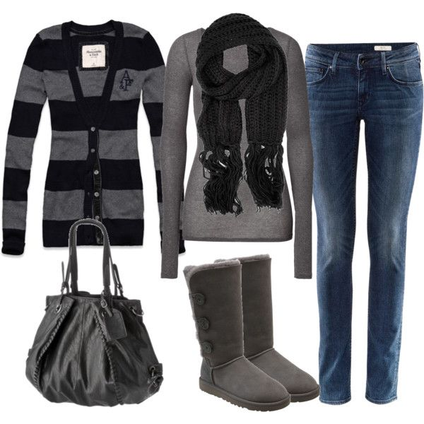grey and blackFall Clothing, Ugg Boots, Boots Uggs Color Black, Favorite Colors, How To Style Uggs Boots, How To Wear Ugg, Grey Clothing, Black Outfit, Fall Outfit
